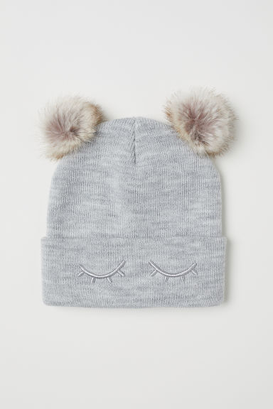 Hat with pompoms - Light grey - Kids | H&M GB