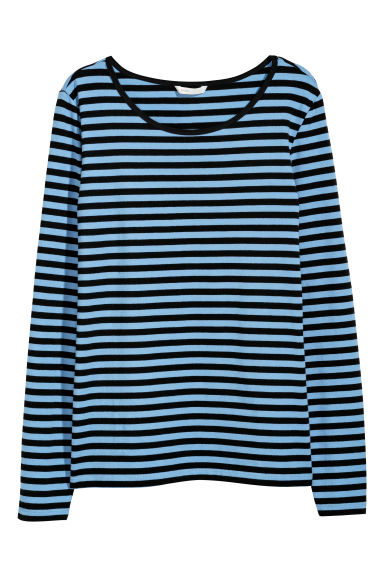 Long-sleeved jersey top - Light blue/Black striped - Ladies | H&M