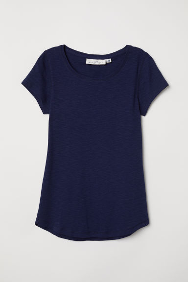 Top a maniche corte in jersey - Blu scuro -  | H&M IT