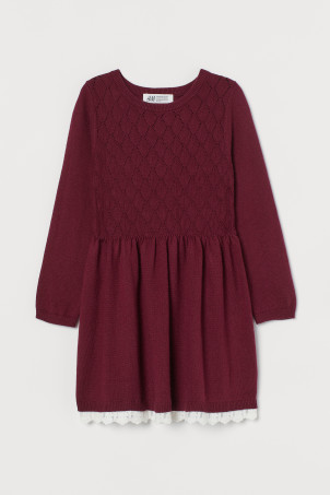Lace-trimmed Knit Dress
