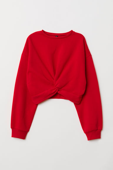 Tie-detail sweatshirt - Red -  | H&M