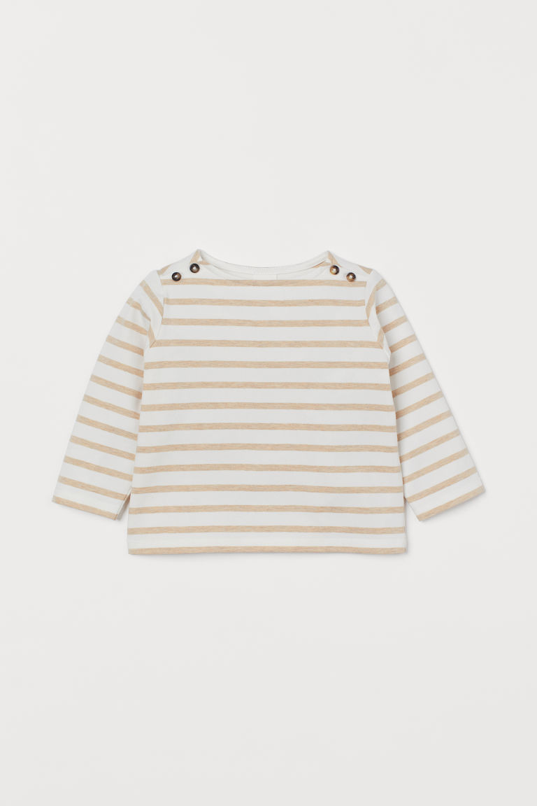 Boat-necked cotton top - White/Striped - Kids | H&M