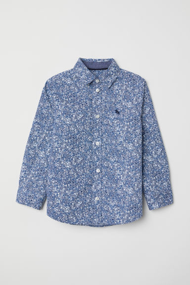 Cotton shirt - Light blue/Floral - Kids | H&M