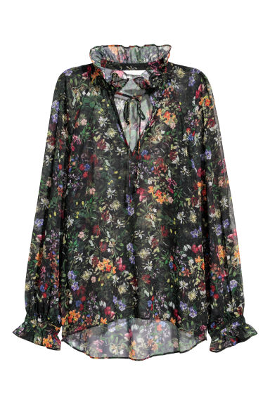 Airy blouse - Black/Floral -  | H&M