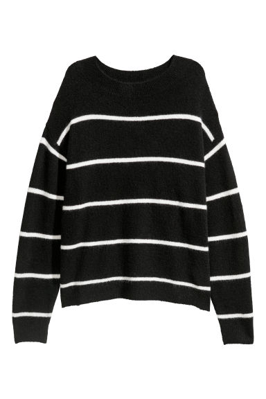 Fine-knit jumper - Black/Striped - Ladies | H&M