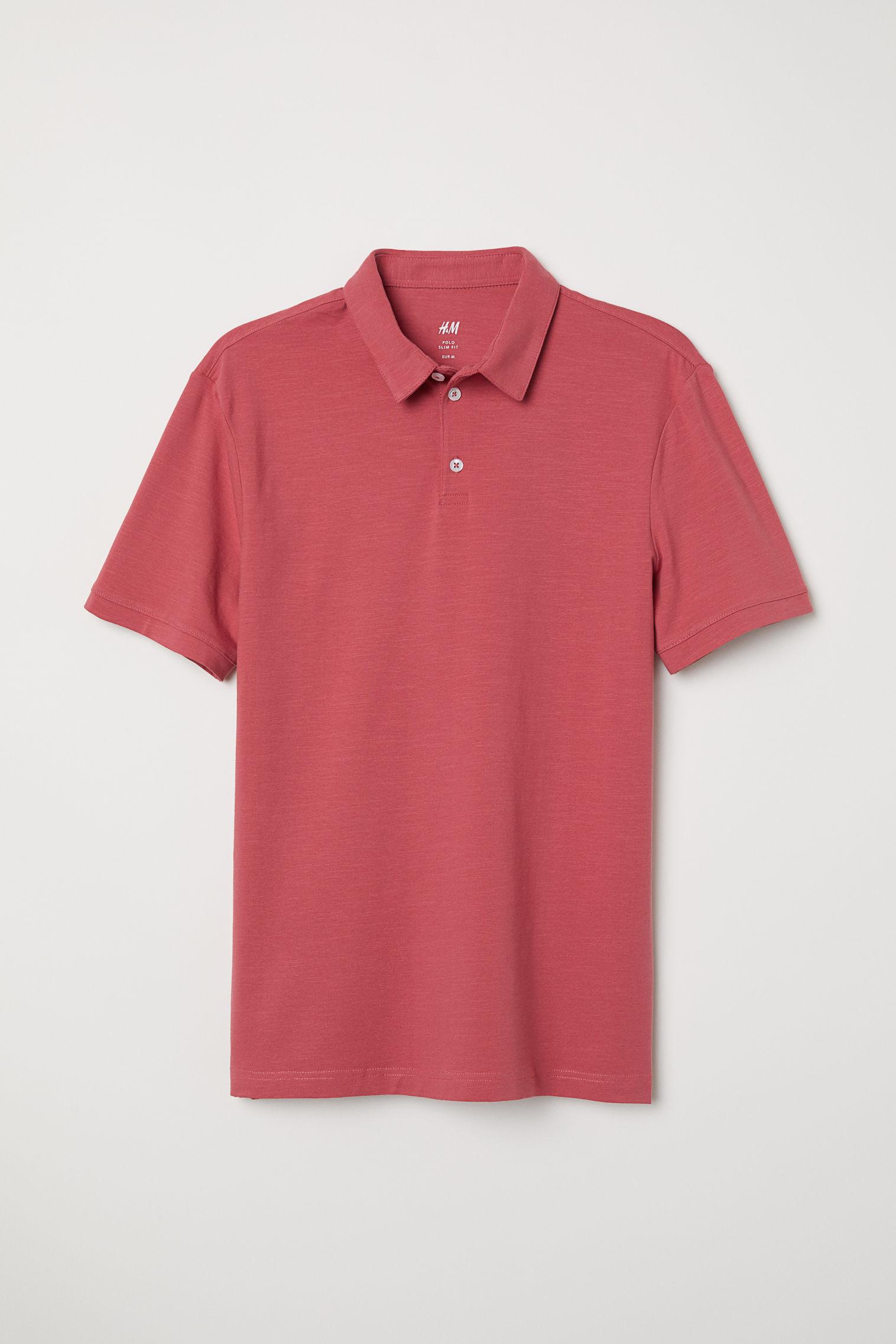 Polo Shirt Slim Fit Black Men Hm Us