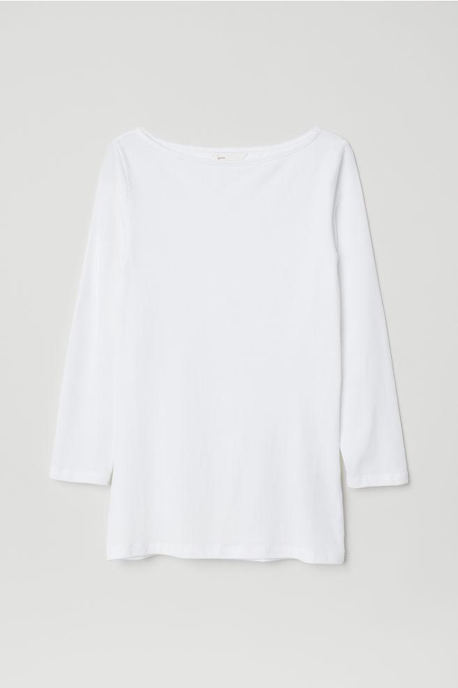a143bf4017f7 ... Tričko s lodičkovým výstrihom - biela - ŽENY