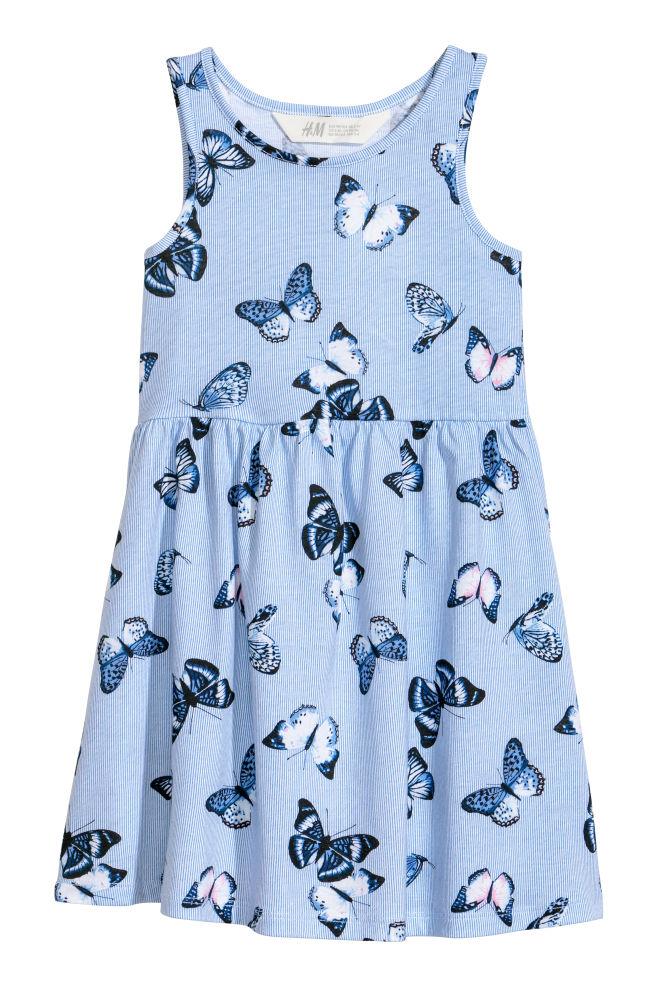 564df15e4bce6 Sleeveless Jersey Dress - Light blue butterflies - Kids