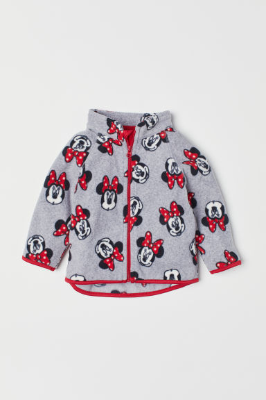 Patterned fleece jacket - Grey marl/Minnie Mouse - Kids | H&M