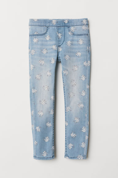 Patterned denim leggings - Light denim blue/Unicorns - Kids | H&M GB