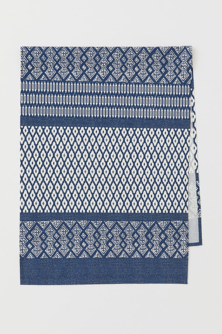Patterned cotton table runner - Dark blue/Patterned - Home All | H&M CN