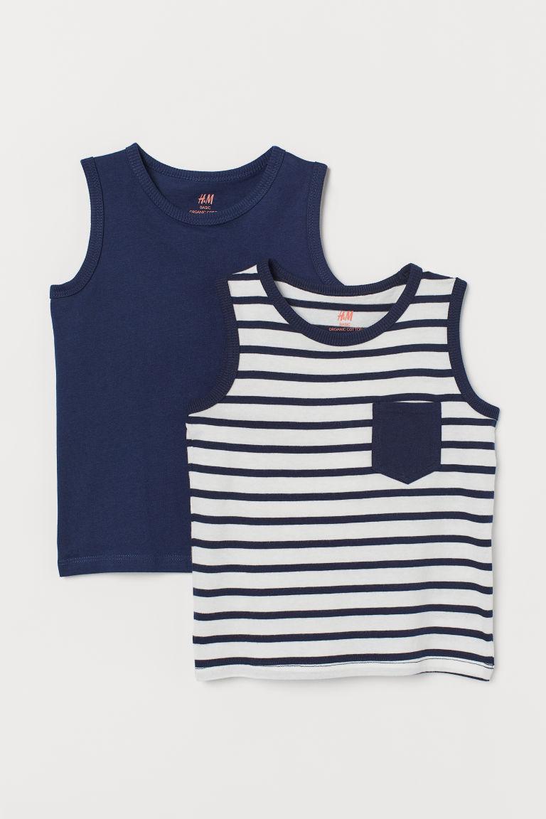 561ff0c7ff5263 2-pack Tank Tops - Dark blue white striped - Kids