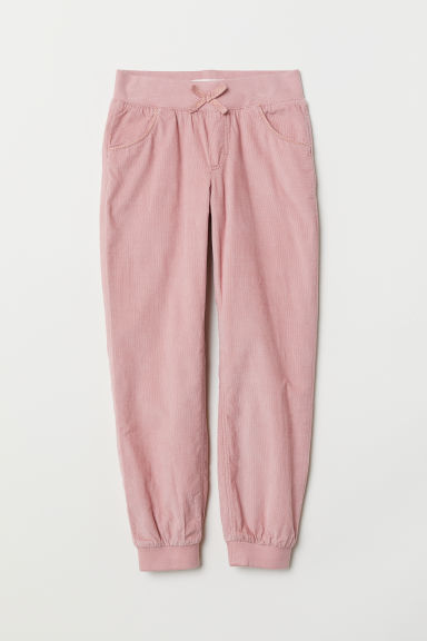 Lined corduroy trousers - Light pink -  | H&M