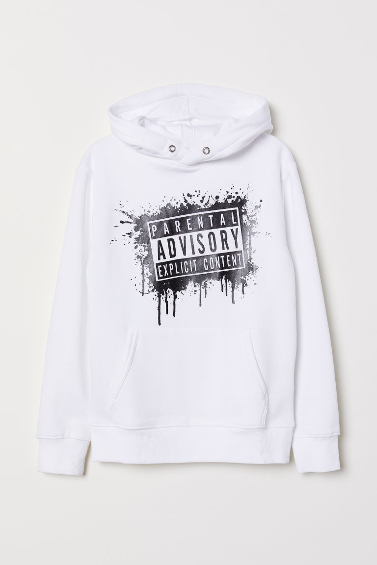 Printed hooded top - White/Parental Advisory - Kids | H&M CN