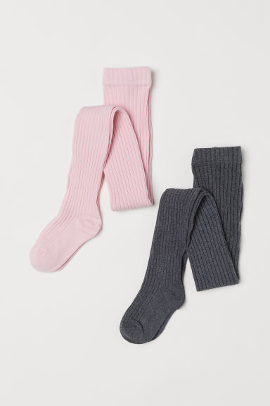 2-pack tights - Pink/Dark grey - Kids | H&M