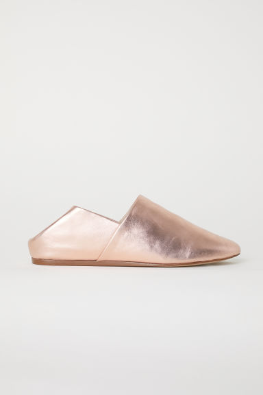 Leather mules - Rose gold-coloured/Metallic - Ladies | H&M CN