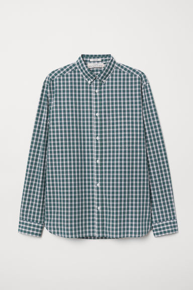 Camicia popeline Regular fit - Verde/quadri - UOMO | H&M IT