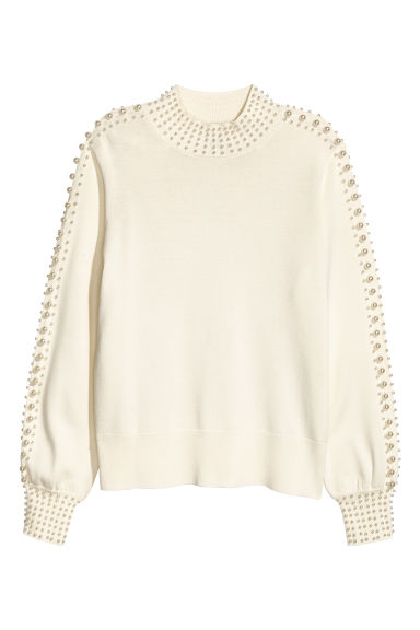 Beaded jumper - Natural white - Ladies | H&M CN