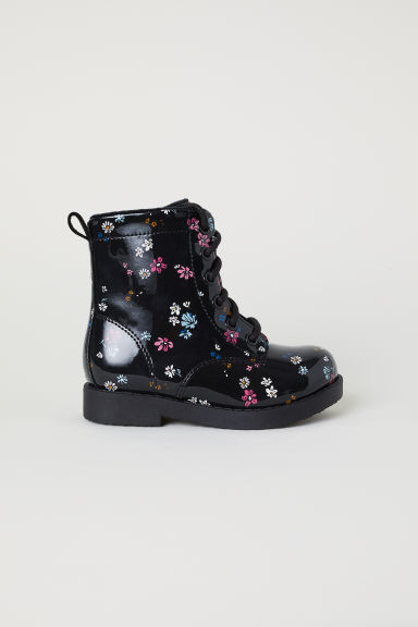 Warm-lined boots - Black/Floral -  | H&M