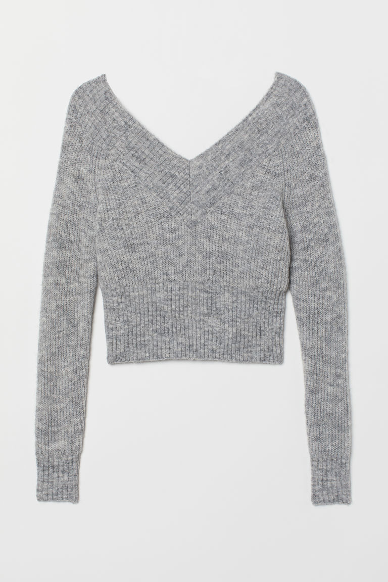 Off-the-shoulder jumper - Grey marl -  | H&M