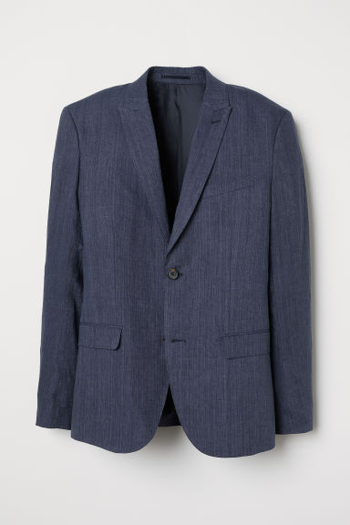Blazer in lino Slim fit - Blu scuro mélange - UOMO | H&M IT