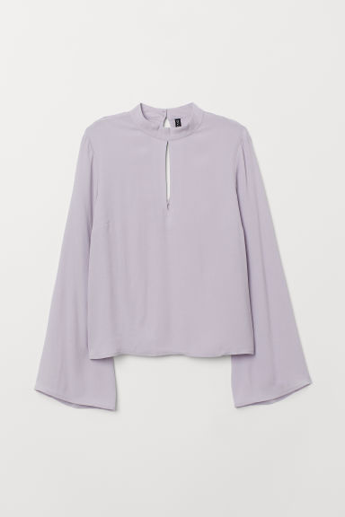 Trumpet-sleeved blouse - Light purple -  | H&M