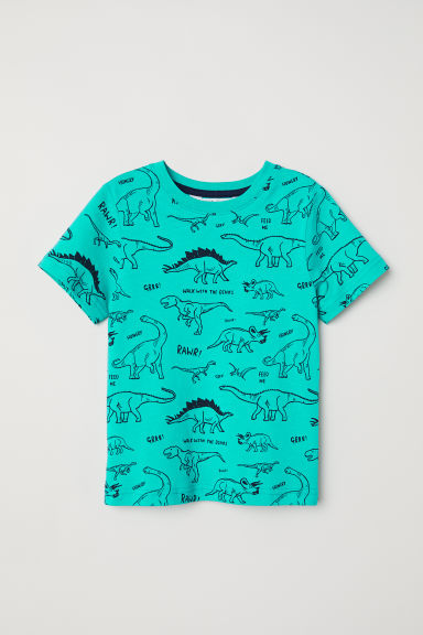 Printed T-shirt - Green/Patterned - Kids | H&M