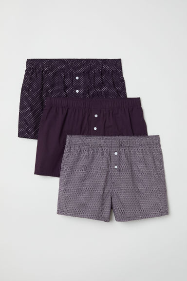 Set van 3 geweven boxershorts - Donkerpaars - HEREN | H&M BE