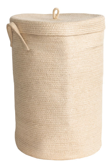 Jute laundry basket with lid - Natural white - Home All | H&M IE