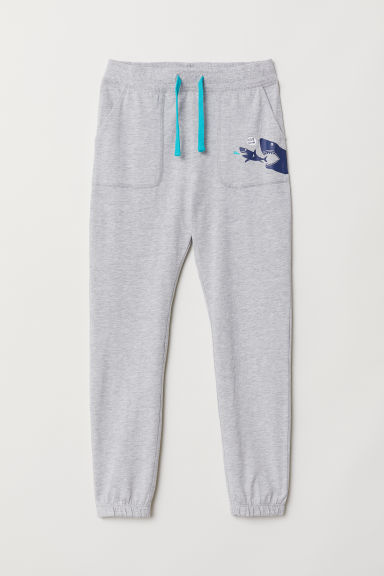 Slub jersey joggers - Light grey marl/Sharks - Kids | H&M