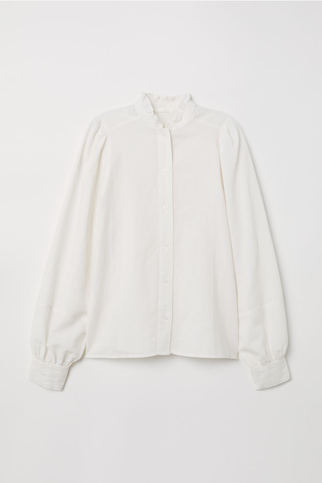 e00f8bb3ecd81 Blouse with Ruffled Collar - Natural white - Ladies