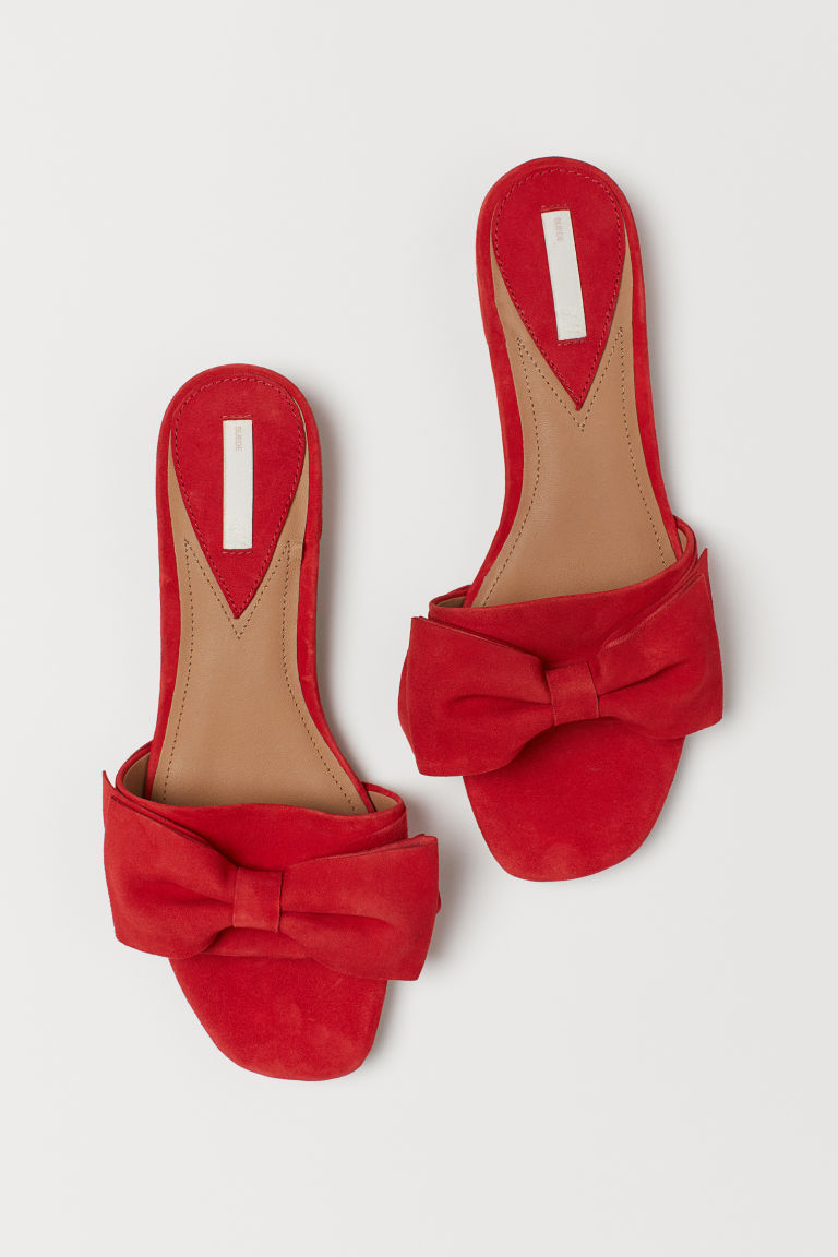 Suede Slides - Red - Ladies | H&M US