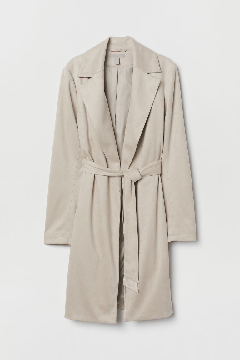 Imitation suede coat - Light mole - Ladies | H&M CN