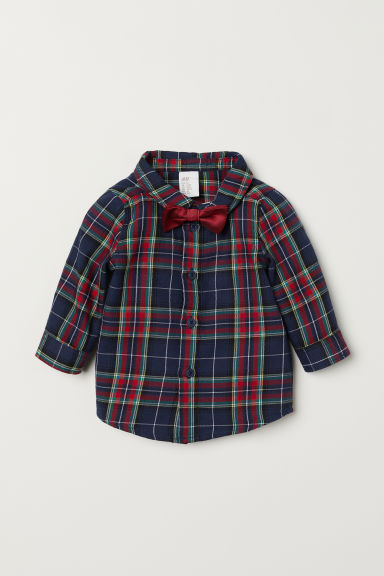 Shirt and bow tie - Red/Checked - Kids | H&M CN