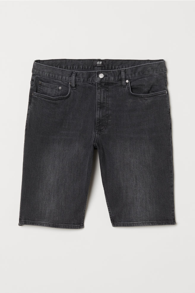 4ebd5aed81 Slim Fit Denim Shorts - Black denim - Men | H&M ...