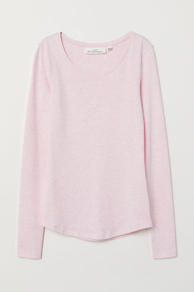 Long-sleeved jersey top - Light pink marl - Ladies | H&M