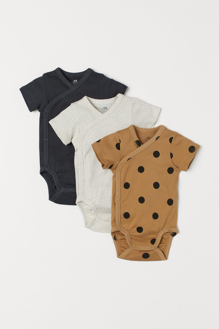 3-pack wrapover bodysuits - Dark beige/Spotted - Kids | H&M