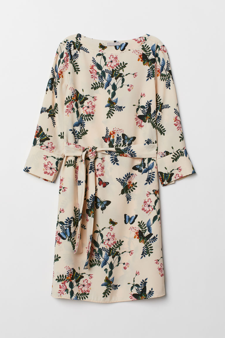 Dress with a tie belt - Natural white/Floral - Ladies | H&M GB