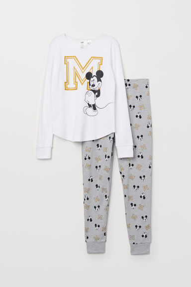 Jersey pyjamas - White/Mickey Mouse - Kids | H&M CN
