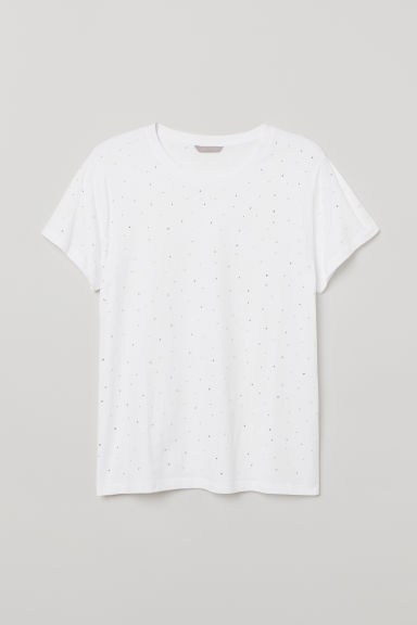 H&M+ T-shirt with a motif - White/Sparkly stones - Ladies | H&M