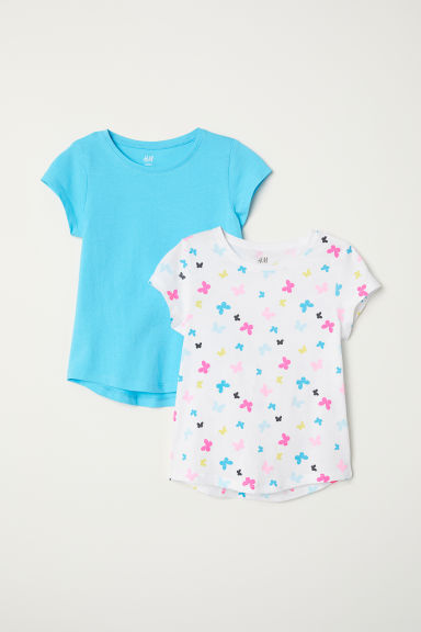 2-pack T-shirts - White/Butterflies - Kids | H&M