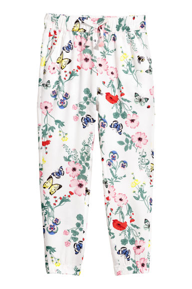 Patterned pull-on trousers - White/Floral -  | H&M