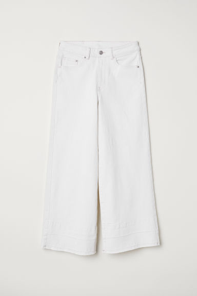 Denim culottes High waist - White denim -  | H&M GB