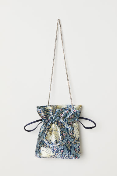 Satin pouch - Dark blue/Floral - Ladies | H&M