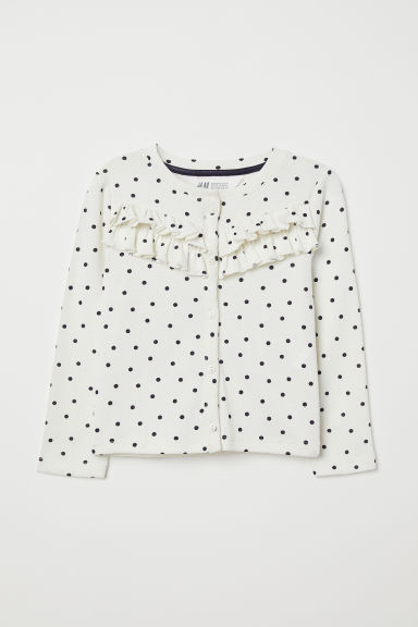 Cardigan with frills - Natural white/Spotted - Kids | H&M