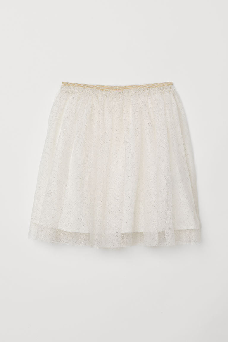 Glittery tulle skirt - Natural white - Kids | H&M CN