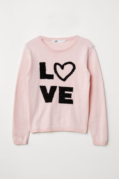 Jumper with sequins - Powder pink/Love - Kids | H&M