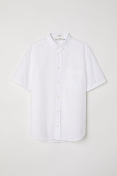 Poplin shirt Regular Fit - White/Neps - Men | H&M CN