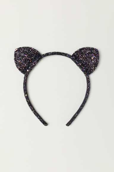 Alice band with ears - Black/Glittery - Kids | H&M