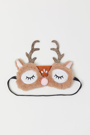 Sleep mask with appliqués - Beige/Reindeer - Kids | H&M